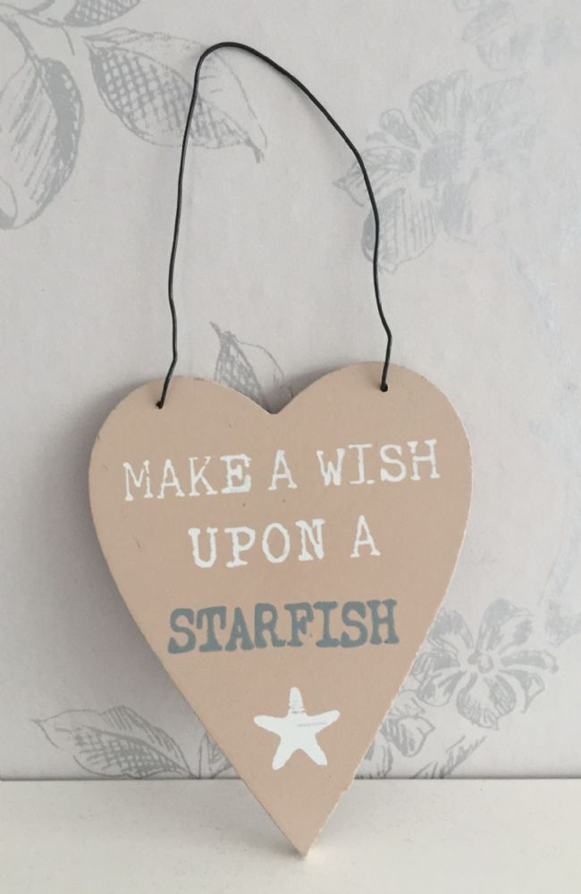 Make A Wish Upon A Starfish Heart Plaque
